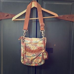 Leather canvas fossil purse